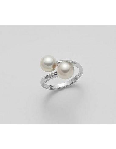 Mikiko anello con perle in oro bianco