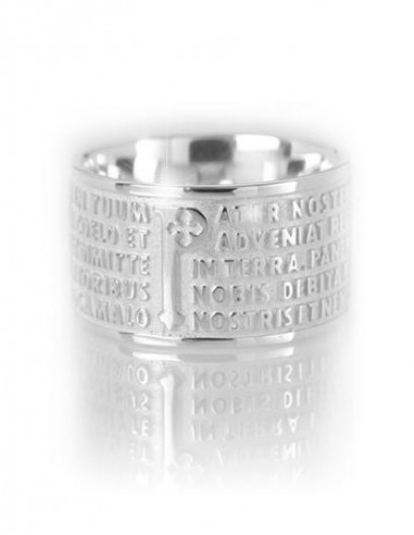 TUUM Silver ring with Our Father in...