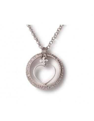 TUUM Cor pendant in rhodium-plated...