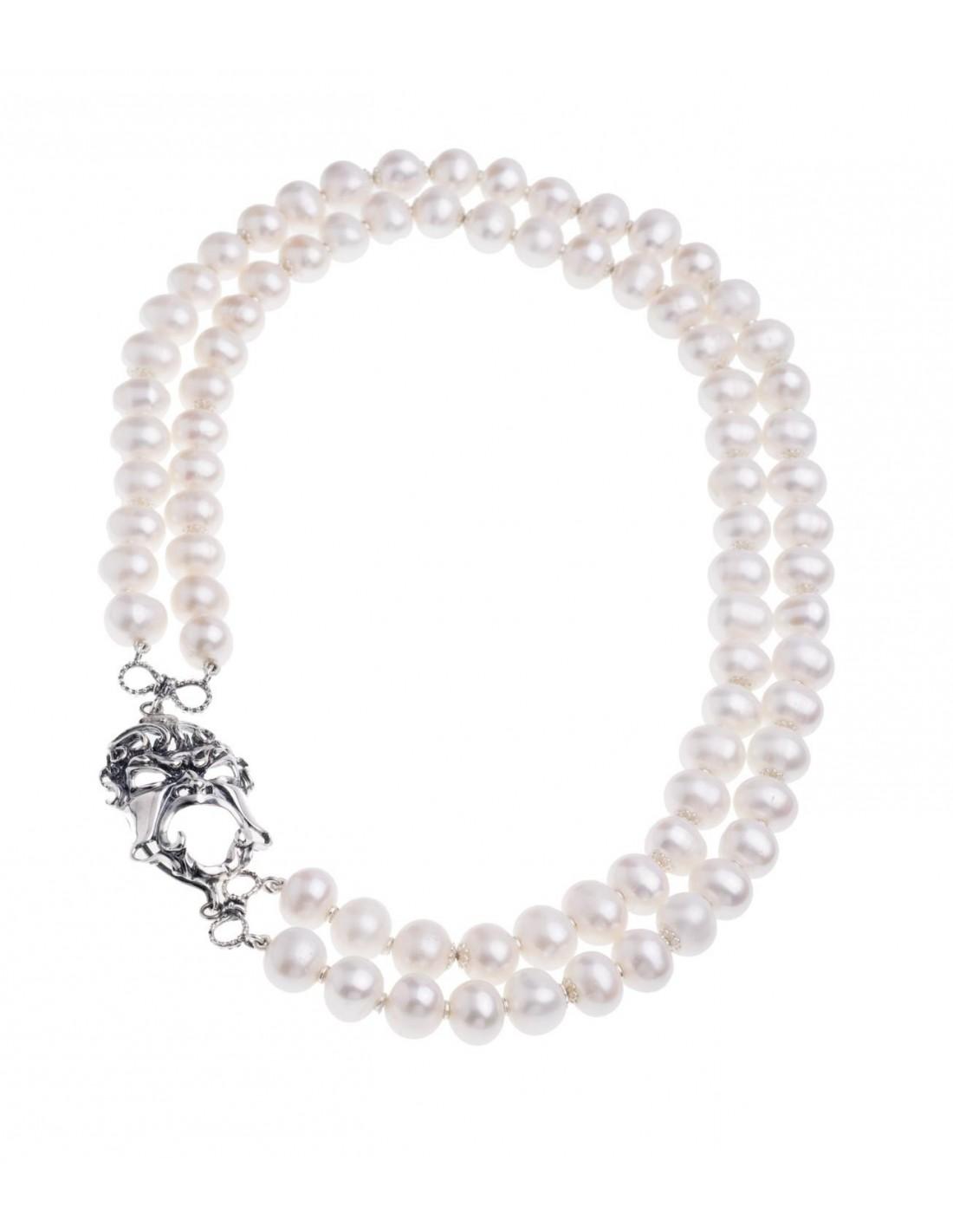 rivenditore di vendita 1c6ff f01ab Collana di perle Gerardo Sacco con maschera in argento 27555B