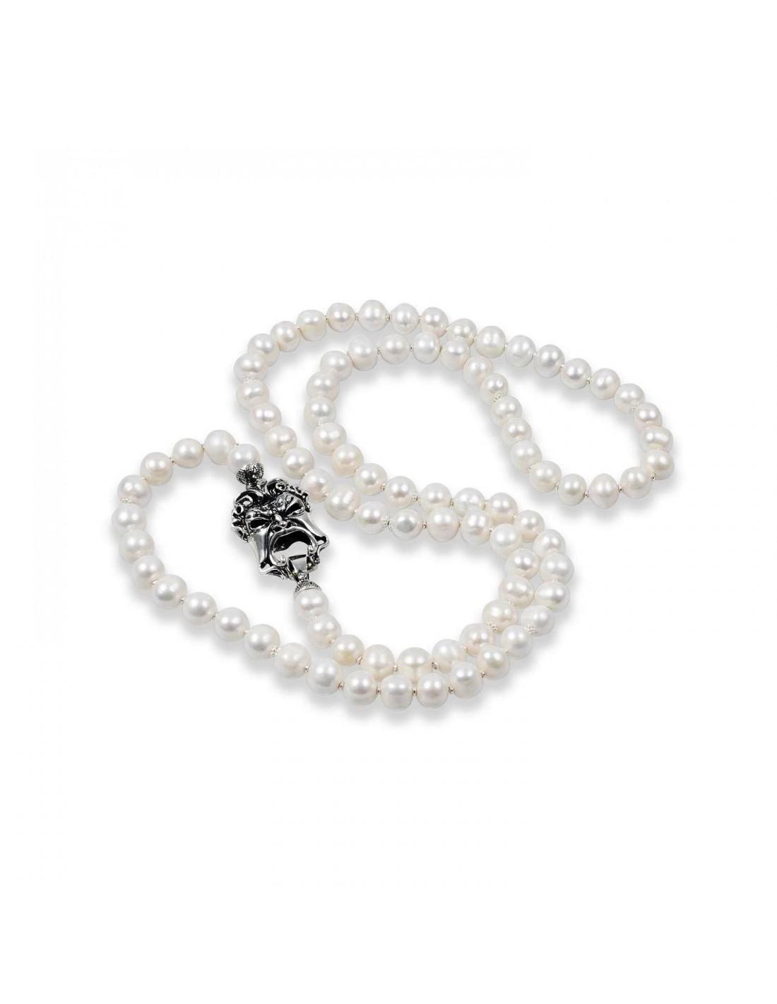 nuovo arrivo 6178f 48230 Gerardo Sacco Collana di perle con maschera in argento 27575B