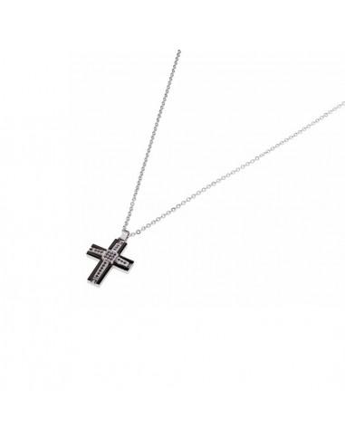 Collana in Acciaio con pendente croce...