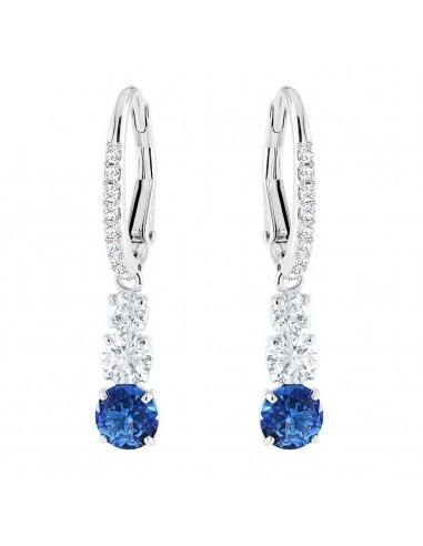 35f55ce271217 Earrings Attract Trilogy Round Swarovski jewelry light blue rhodium plating  5416154
