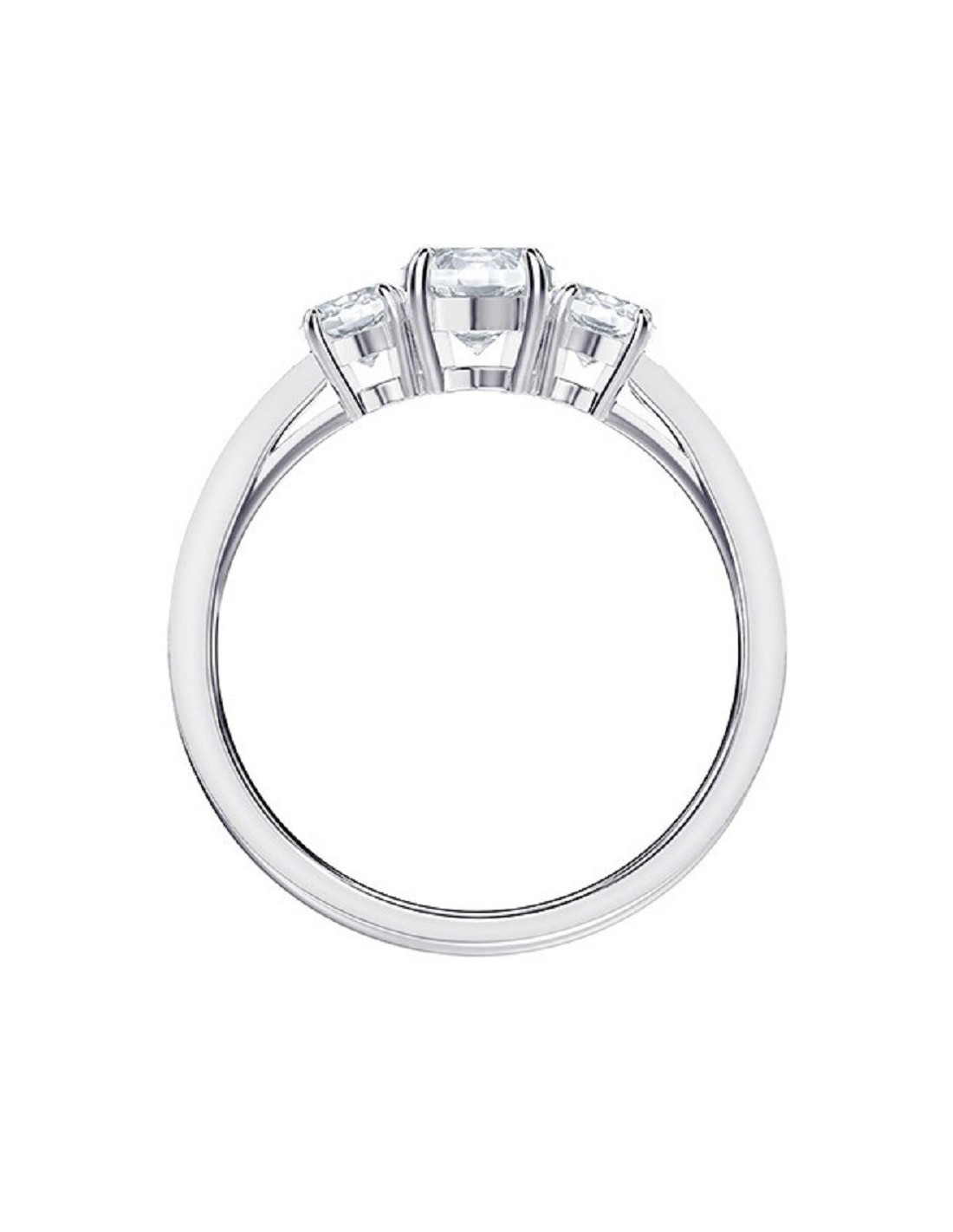 bc418237e3a69 Ring Attract Trilogy Round rhodium-plated Swarovski jewels